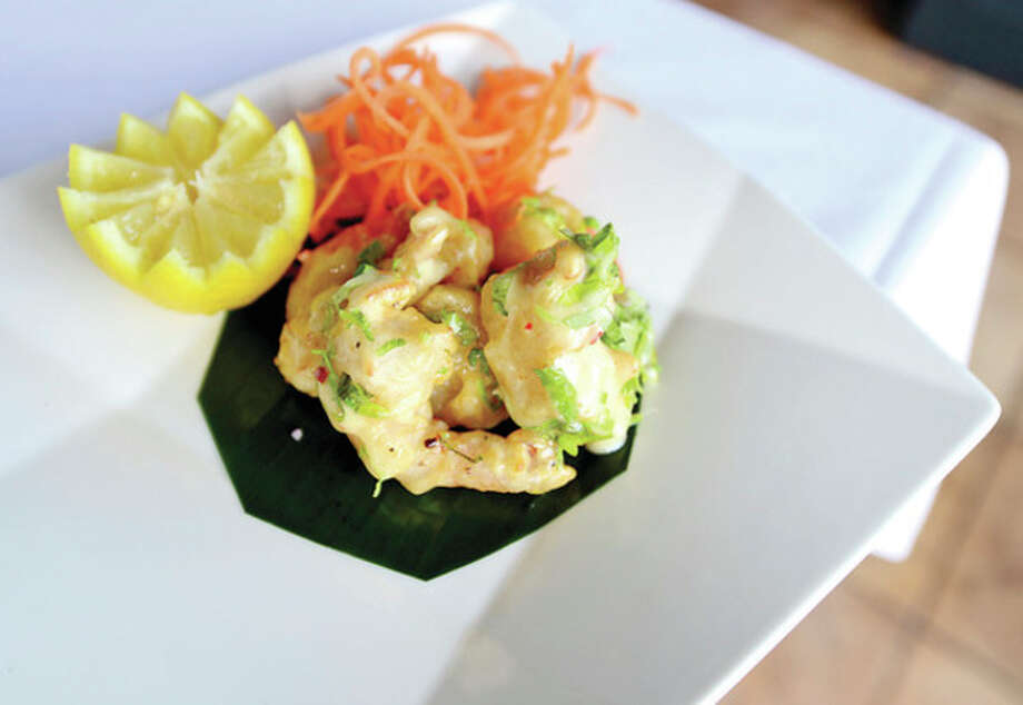 Coconut Pepper Shrimp, one of the appetizers at the new Aladin Indian Bistro on CT Ave. in Norwalk.Hour photo / Erik Trautmann / (C)2013, The Hour Newspapers, all rights reserved
