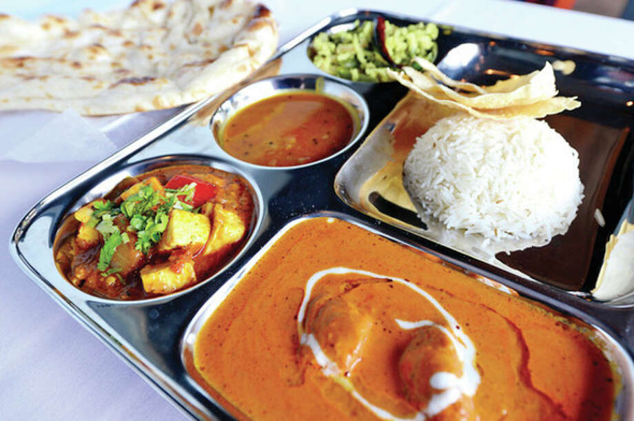 The Thali lunch special at the new Aladin Indian Bistro on CT Ave.Hour photo / Erik Trautmann / (C)2013, The Hour Newspapers, all rights reserved