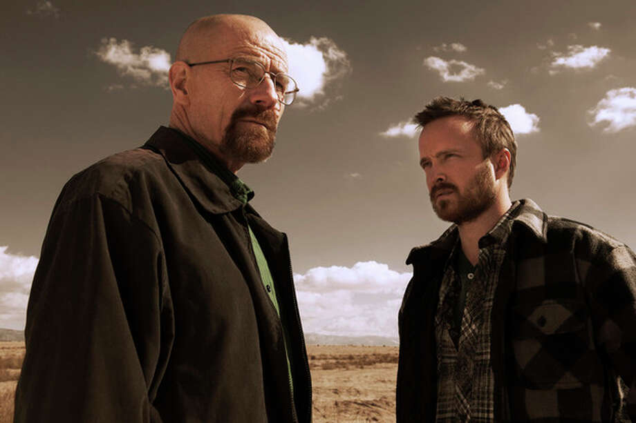 """AMCWalter White (Bryan Cranston) and Jesse Pinkman (Aaron Paul) in """"Breaking Bad,"""" creator Vince Gilligan's unerringly brilliant drama that is back for the first of its final eight episodes. / THE WASHINGTON POST"""
