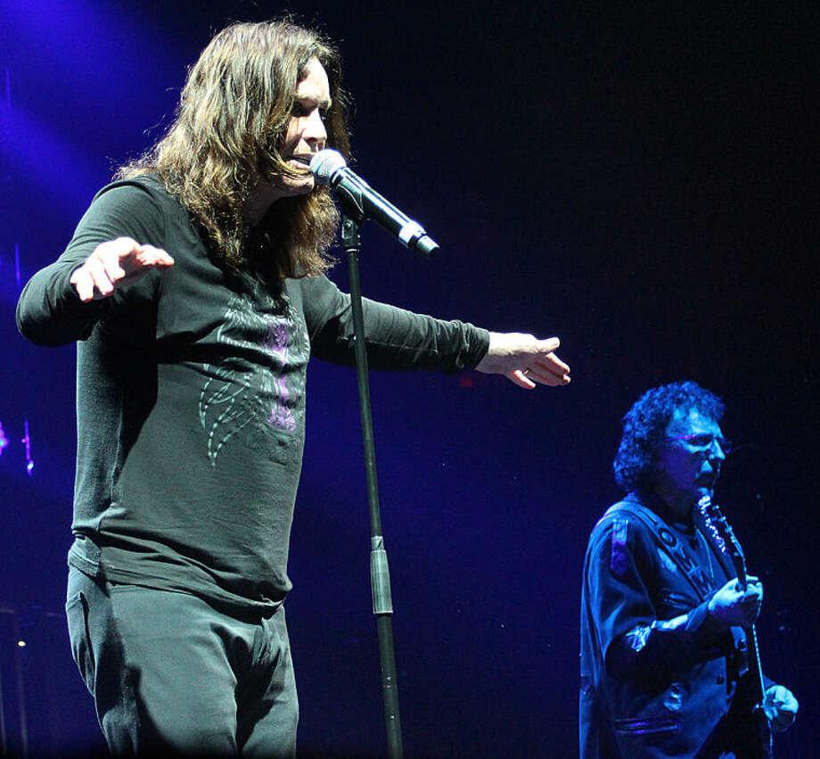 Hour photo / Chris Bosak Ozzy Osbourne and Tony Iommi of Black Sabbath, Mohegan Sun, CT, Aug. 8, 2013.