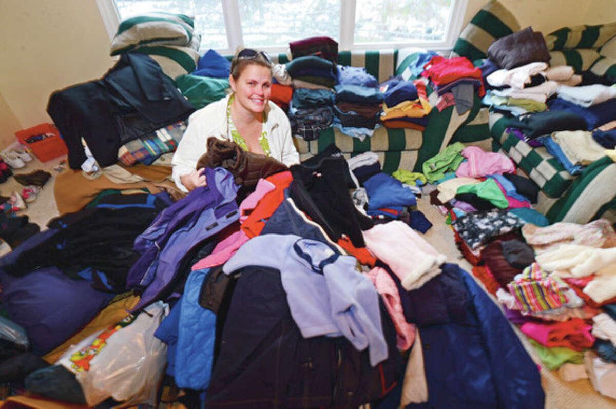 Hour photo / Erik Trautmann Wilton resident Krissy Wood organized a massive donation effort to aid victims of Hurricane Sandy.