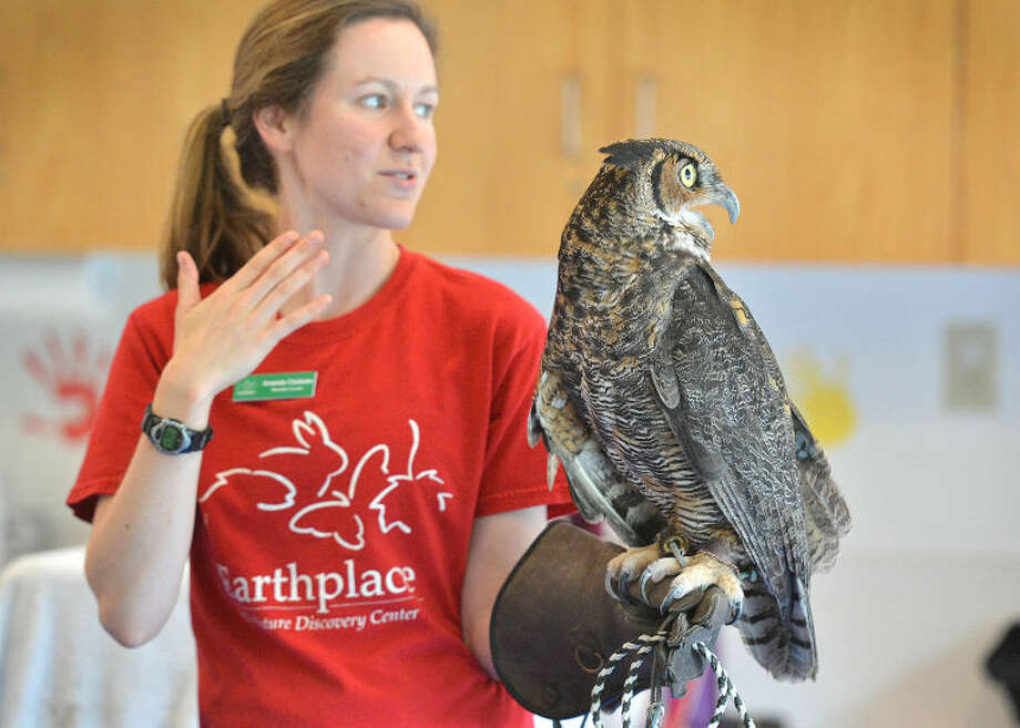 Amanda Chisolm, an educator with Earthplace: The Nature Discovery Center of Westport, holds on to Lady Bird, a great horned owl, as kids at Wilton Library's Harry Potter Camp learn about science and nature.