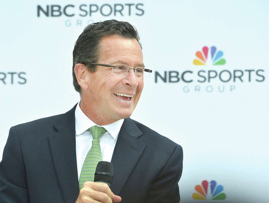 Hour photos / Alex von KleydorffGov. Dannel P. Malloy talks during a celebration of NBC Sports Group in Stamford marked with a party and a ribbon cutting Wednesday.