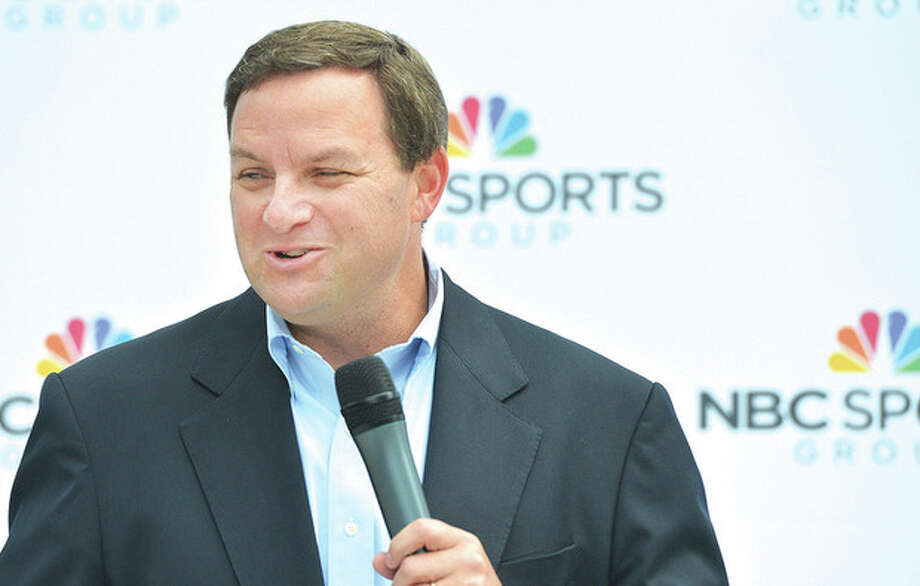 Mark Lazarus, chairman of NBC Sports Group, talks during a celebration at their headquarters.