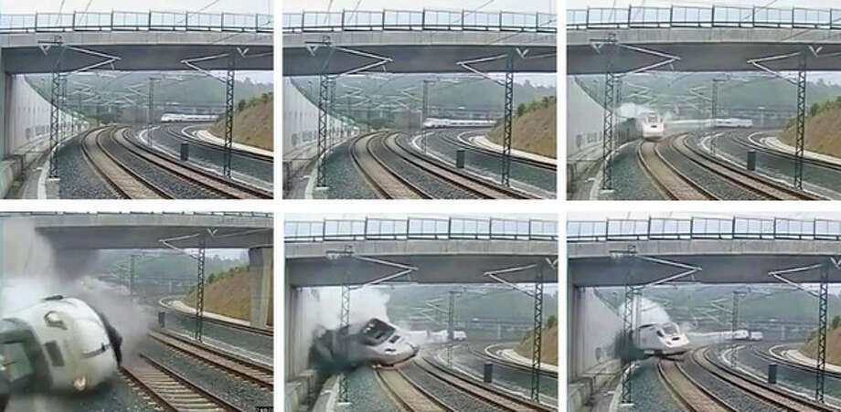 This combo image taken from security camera video shows clockwise from top left a train derailing in Santiago de Compostela, Spain, on Wednesday July 24, 2013. Spanish investigators tried to determine Thursday why a passenger train jumped the tracks and sent eight cars crashing into each other just before arriving in this northwestern shrine city on the eve of a major Christian religious festival, killing at least 77 people and injuring more than 140. (AP Photo) / security camera