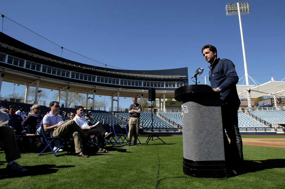 """FILE - In this Feb. 24, 2012 file photo, Milwaukee Brewers' Ryan Braun, right, speaks during a news conference at spring training baseball, in Phoenix. Braun stood on a spring training field and proclaimed he was innocent of using banned testosterone. """"I would bet my life,"""" he said back then, """"that this substance never entered my body at any point."""" Seventeen months later, he accepted a 65-game suspension from baseball and admitted, """"I am not perfect. (AP Photo/Jae C. Hong, File) / AP"""