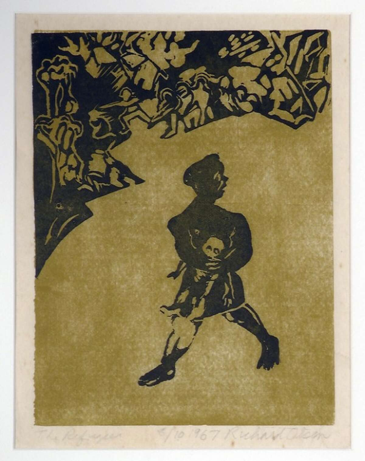 """ADVANCE FOR USE SUNDAY, NOV. 11, 2012 AND THEREAFTER - This undated image provided by the National Veterans Art Museum shows """"The Refugee"""" by Vietnam veteran and artist Richard Olsen. Olsen created the yellow-and-black linocut after returning home following a year's tour as an Army helicopter pilot with the 33rd Transportation Company in Vietnam. He came back in 1963, and the war in faraway Southeast Asia was not yet fully on America's radar, so producing these images was his way of sounding an alarm. """"It was like, 'Hey, you guys, there's a war going on,?'"""" Olsen says. """"Why make pictures of flowers? Why not make pictures of war?"""" (AP Photo/National Veterans Art Museum, Richard Olsen)"""