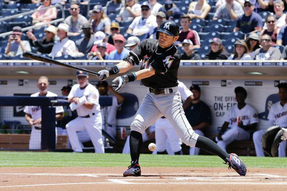 Miami Marlins' Ichiro Suzuki hits a single during the first inning of a baseball game against the San Diego Padres Wednesday, June 15, 2016, in San Diego. Suzuki singled in the first inning to match Pete Rose's Major League hit record of 4,256. Photo: Gregory Bull, AP / Copyright 2016 The Associated Press. All rights reserved. This material may not be published, broadcast, rewritten or redistribu