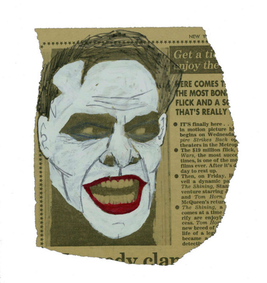 "This image released by Metropolis Collectibles, Inc. shows a drawing of actor Jack Nicholson as The Joker in Tim Burton's 1989 ""Batman,"" drawn by film producer Michael Uslan over a photo of the actor as Jack Torrance from the film ""The Shining,"" that was printed in The New York Post in 1980. The sketch went up for auction on Monday, Nov. 12, 2012 through ComicConnect.com, along with several other pieces of art and comics that Uslan has collected. The auction will continue until Dec. 3. (AP Photo/Metropolis Collectibles, Inc.) / Metropolis Collectibles, Inc."