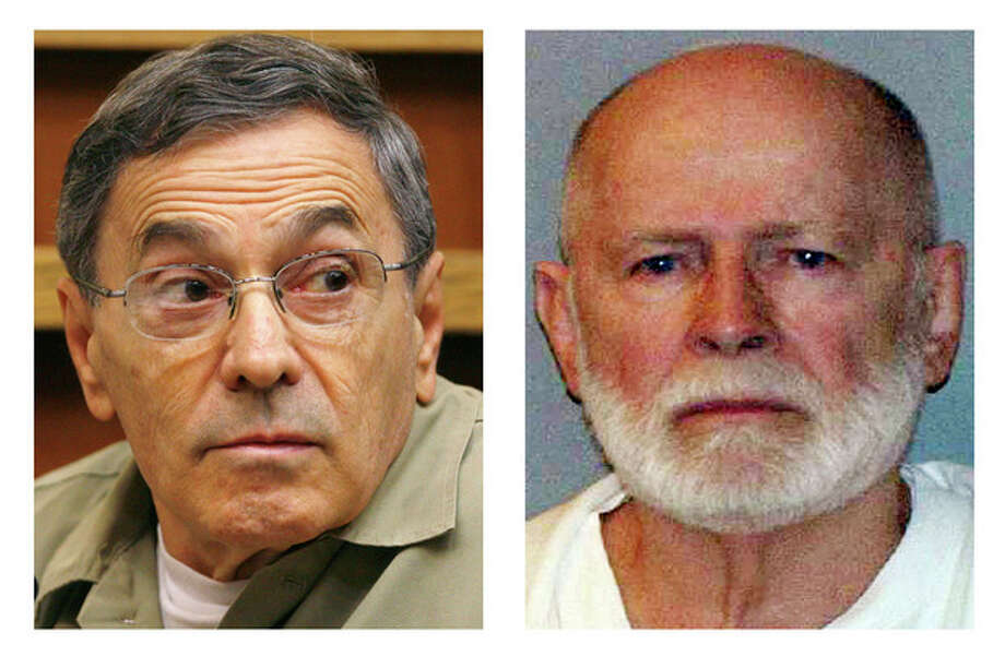 "This pair of file photos shows Stephen ""The Rifleman"" Flemmi, left, on Sept. 22, 2008, as he testified in a Miami court in the murder trial of former FBI agent John Connolly; and James ""Whitey"" Bulger, right, in a June 23, 2011 booking photo provided by the U.S. Marshals Service. Flemmi, Bulger's alleged former partner serving a life sentence after pleading guilty to 10 killings, is expected to testify in Bulger's trial Thursday, July 18, 2013 in federal court in Boston. Bulger, now 83, is accused in a 32-count racketeering indictment and in playing a role in 19 killings in the 1970s and '80s while he allegedly led the Winter Hill Gang in Boston. (AP Photos/J. Pat Carter and U.S. Marshals Service, File) / AP and U.S. Marshals Service"