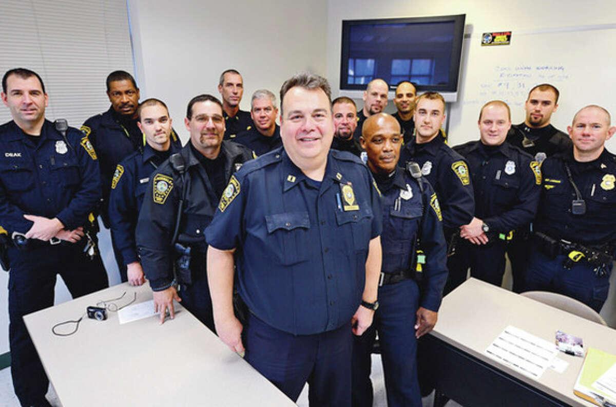 Hour photo / Erik Trautmann Capt. Ernie Vitarbo, the last captain for the Norwalk Police Department, is retiring.