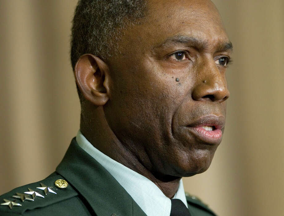"FILE - This Oct. 1, 2008 file photo shows Army Gen. William E. ""Kip"" Ward, Commander of U.S. Africa Command, speaking at the Pentagon. A senior U.S. official says Defense Secretary Leon Panetta has demoted, Ward, the former head of U.S. Africa Command who was accused of spending thousands of dollars on lavish travel and other unauthorized expenses. (AP Photo/Haraz N. Ghanbari, File) / AP"