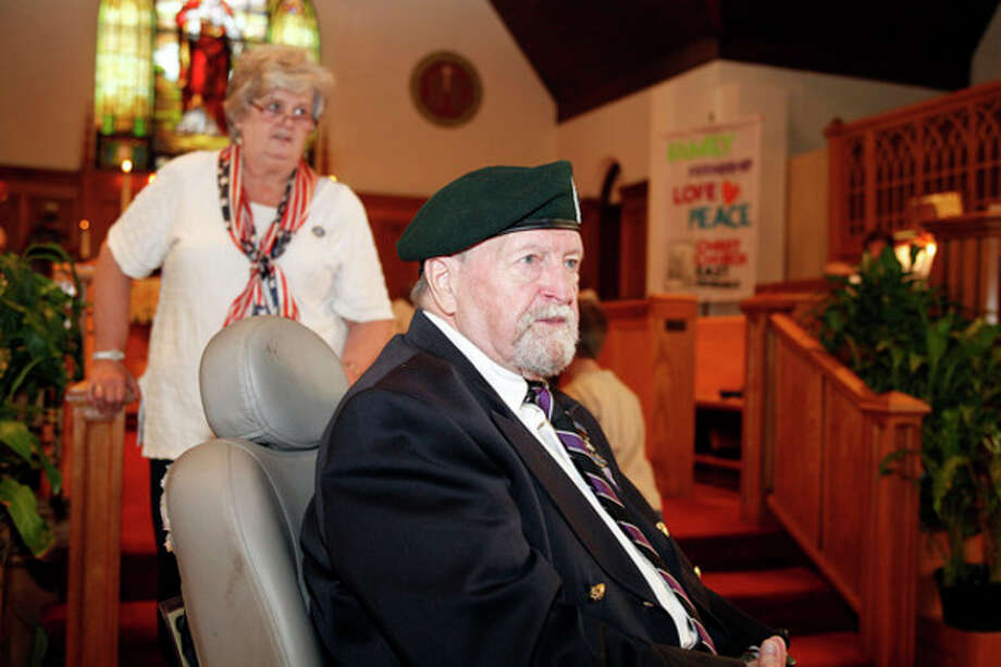 Veteran David Cole introduces himself during Christ Episcopal Church's service honoring veterans of the armed forces Sunday morning in Norwalk.Hour Photo / Danielle Robinson