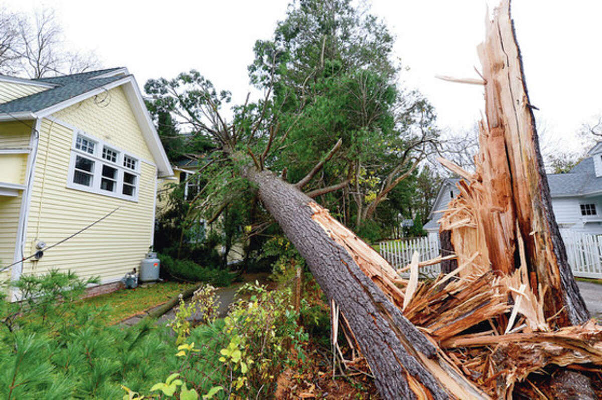 Hour photo / Erik Trautmann High winds brought a large white pine onto a home on Kings Higway in Westport during Hurricane Sandy.