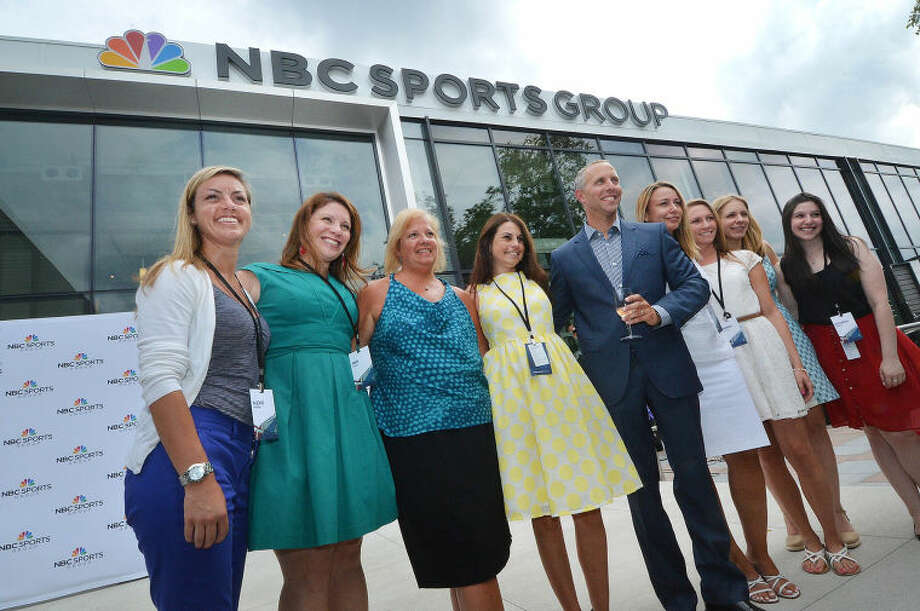Hour Photo/Alex von Kleydorff . NBC Sports Group Sr. Vice President Bob Landau poses for a photo in front of Headquaters.