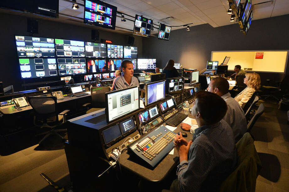 Hour Photo/Alex von Kleydorff . Production Control Room 3 at NBC Sports Group in Stamford