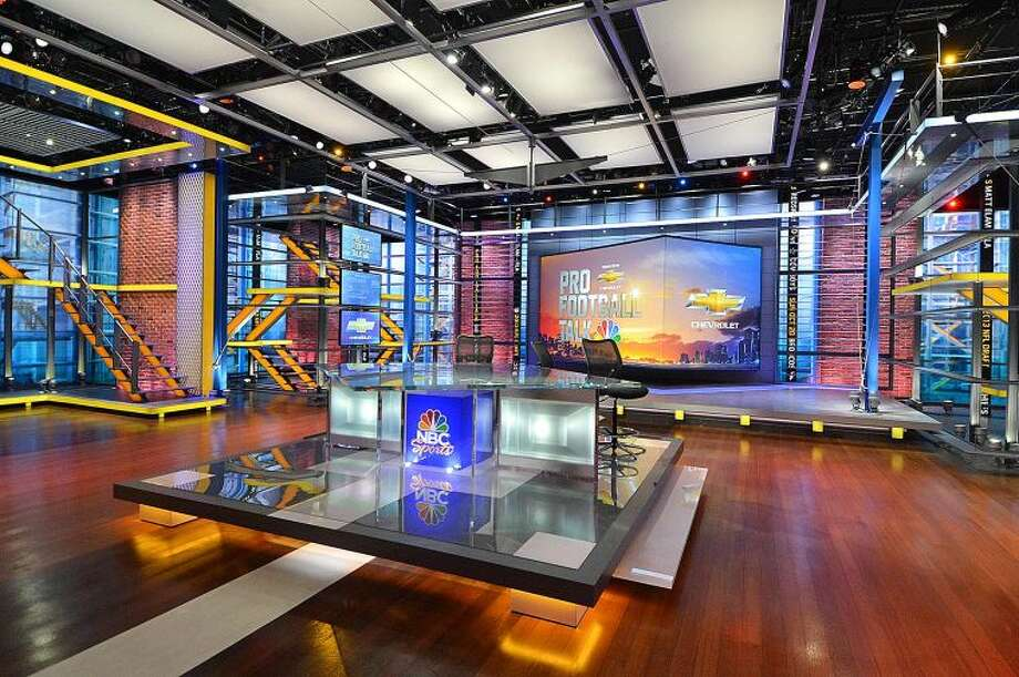 Hour Photo/Alex von Kleydorff . The Studio used for Motorsports like Formula One, and also for shows like Pro Football Talk, at NBC Sports Group in Stamford Ct.