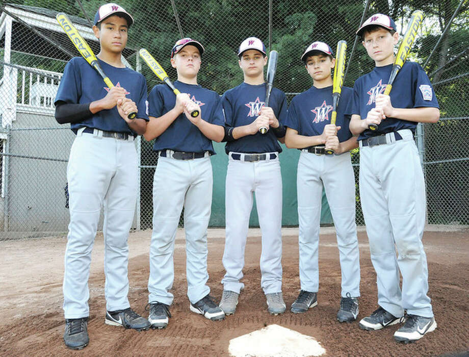 Hour photo/Matthew VinciWhile pitching has been a strength of the Westport Little League All-Stars, the team is not lacking at the plate. Some of those who swing bug bats fo the team are Tatin Llamas, Matt Stone, Ricky Offenberg, Chris Drbal and Drew Rogers.