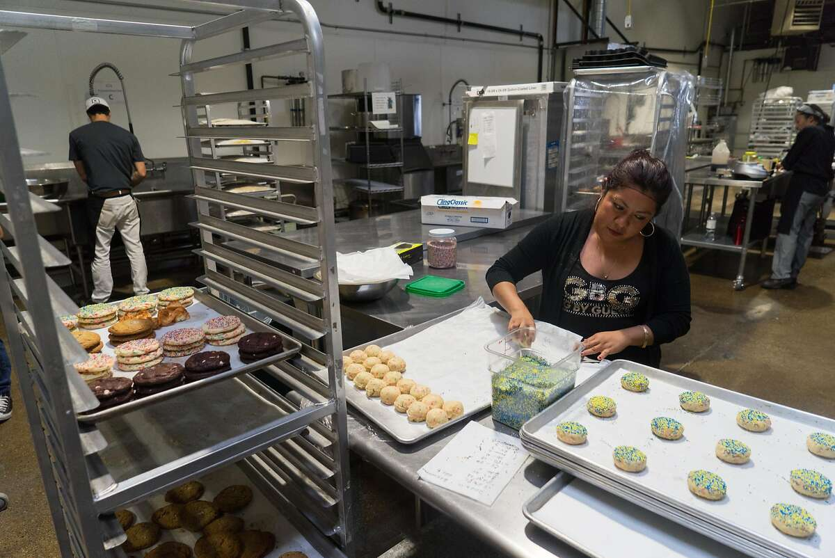 Elena Solano of Doughbies makes cookies at Kitchentown in San Mateo, Calif. on Wednesday, June 15, 2016. Rocketspace, a tech startup campus is launching a food accelerator where food tech startups will be able to work at Kitchentown.