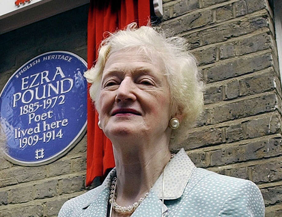 FILE - In this Wednesday, Aug. 11, 2004 file photo Valerie Elliot, the widow of the late British poet T.S. Eliot, with Mary de Rachewiltz,, daughter of late U.S. poet Ezra Pound, not in photo. after Rachewiltz unveiled an English Heritage Blue Plaque to commemorate the house on London's Kensington Church Walk where her father lived from 1909-14, Valerie Eliot, the widow of T.S. Eliot and zealous guardian of the poet's literary legacy for almost half a century, has died. She was 86. In a statement Sunday, Nov. 11, 2012, the Eliot estate said Valerie Eliot died two days before at her London home after a short illness. (AP Photo/Richard Lewis, File) / AP