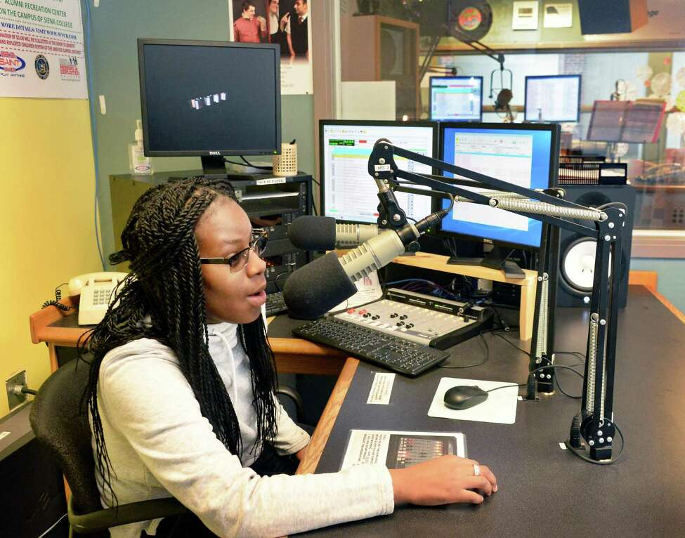 Siena College On-Line Radio (SCOR) program director Keyanna Dunn of Plattsburgh in the Sarazen Student Union on the Siena campus Thursday Jan. 29, 2015, in Colonie, NY. (John Carl D'Annibale / Times Union)