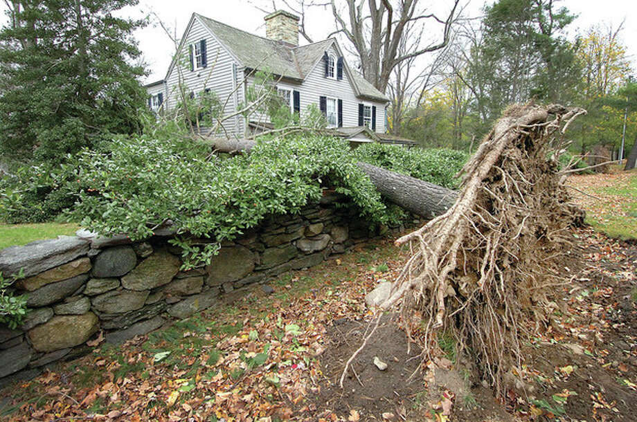 Hour Photo / Alex von KleydorffClose call for this house on Drum Hill Road in Wilton -- two trees uprooted on either side missed the house. / 2012 The Hour Newspapers