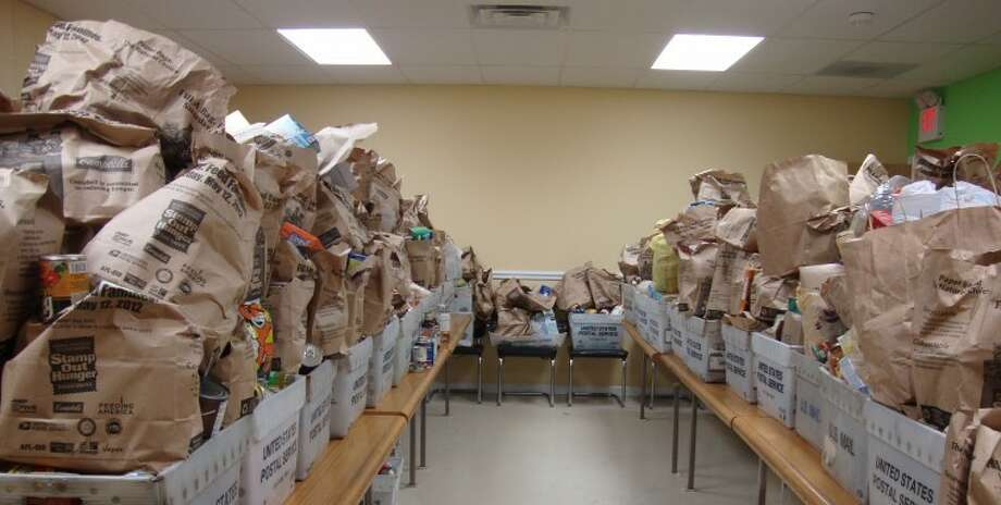 Donated food is piled high at CCA