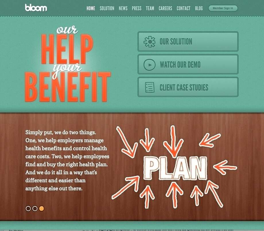 This undated image provided by Bloom Health shows the Bloom Health website. In a major shift in employer-sponsored health insurance coverage, companies such as Sears Holdings Corp. and Darden Restaurants Inc. are giving employees a fixed amount of money and allowing them to choose their own coverage based on their individual needs. (AP Photo/Bloom Health) / Bloom health