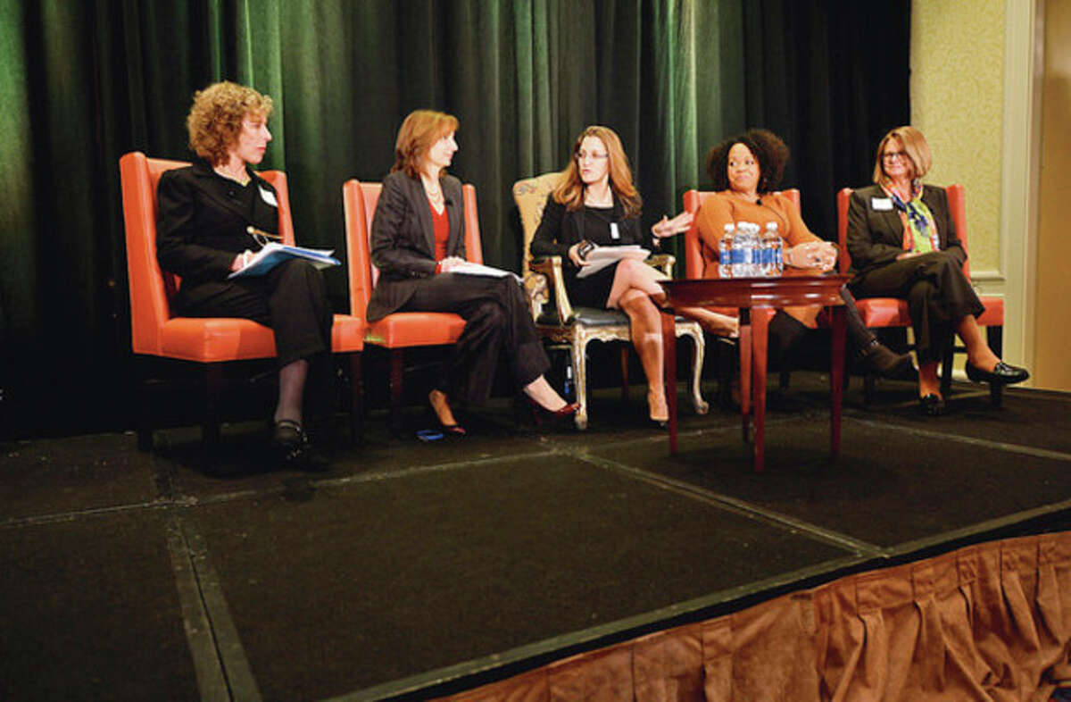 The Women's Business Development Council (WBDC) annual Business Breakfast held a panel discussion at the Stamford Marriott Thursday. Hour photo / Erik Trautmann