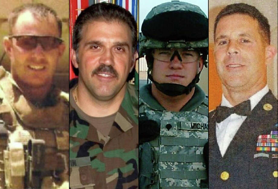 This combination of undated family photos provided by the Show of Support, Hunt for Heroes committee show, from left: Sgt. Maj. Gary Stouffer, 37; Sgt. Maj. Lawrence Boivin, 47; Army Sgt. Joshua Michael, 34, and Sgt. Maj. William Lubbers, 43, four veterans killed when a parade float they were riding on was struck by a freight train at a crossing Thursday, Nov. 15, 2012, in Midland, Texas. (AP Photo/Courtesy Show Of Support) / Show Of Support
