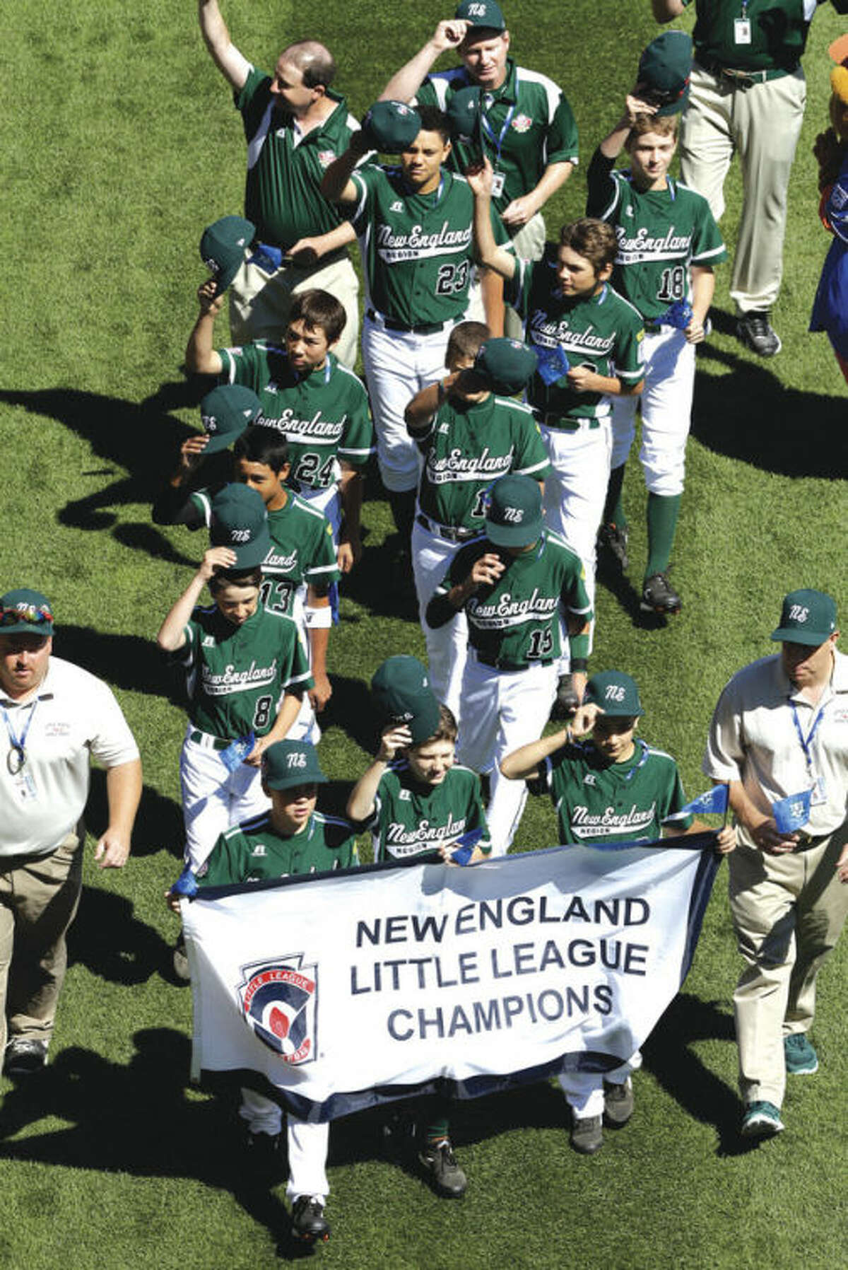 AP photo The Westport team participates in Thursday's opening ceremony for the 2013 Little League World Series in South Williamsport, Pa. For two families, the Browns and the Azadians, the hoopla has a familiar ring.