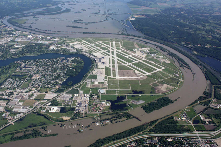 This aerial handout photo provided by the Omaha Airport Authority, taken June 15, 2011, shows flooding around the airport in Omaha, Neb. Extreme weather is a growing threat to the nation's lifelines _ its roads, bridges, railways, airports and transit systems _ leaving states and cities trying to come to terms with a new normal. (AP Photo/Omaha Airport Authority) / Omaha Airport Authority