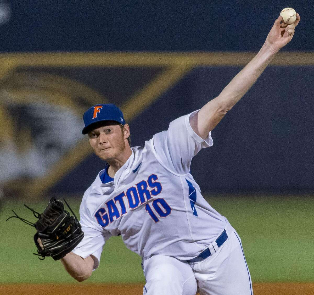 Florida's A.J. Puk pitches in the sixth inning against LSU during a Southeastern Conference baseball tournament game Wednesday, May 25, 2016, in Hoover, Ala. (Vasha Hunt/AL.com via AP)
