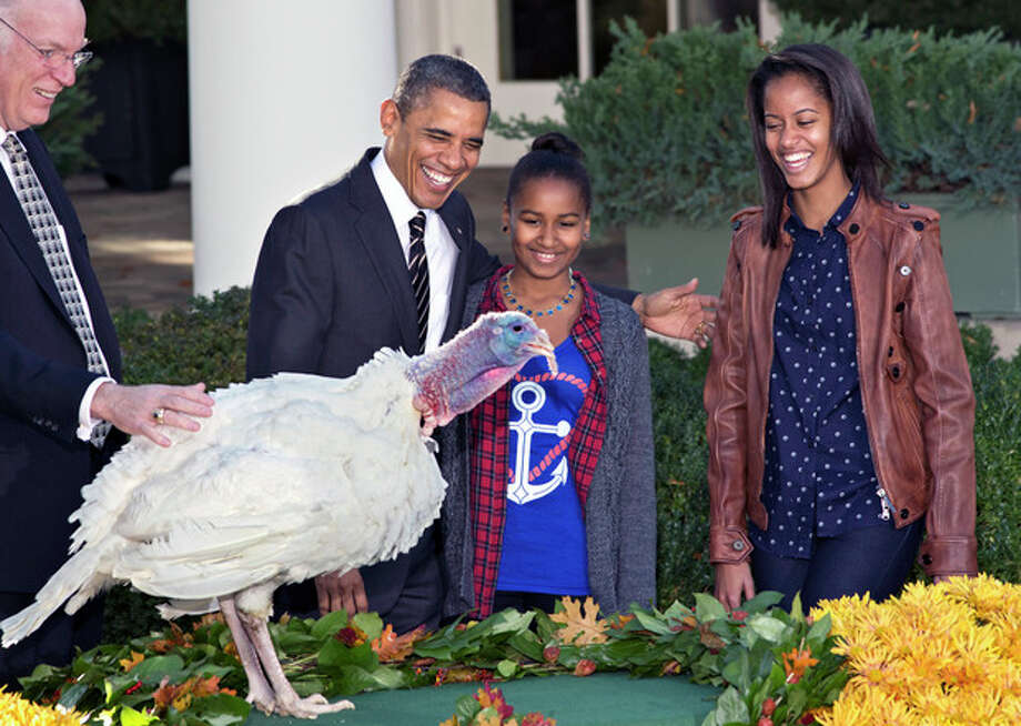 "President Barack Obama, with daughters Sasha, center, and Malia, right, carries on the Thanksgiving tradition of saving a turkey from the dinner table with a ""presidential pardon"" at the White House in Washington, Wednesday, Nov. 21, 2012. After the ceremony, ""Cobbler"" will head to George Washington's historic home in Virginia to be part of the ""Christmas at Mount Vernon"" exhibition. National Turkey Federation Chairman Steve Willardsen watches at left. (AP Photo/J. Scott Applewhite) / AP"