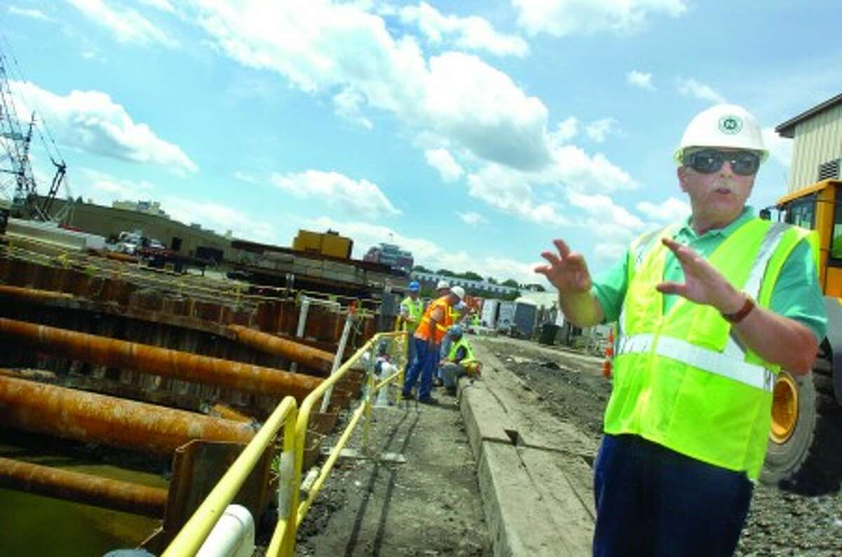 Harold F. Alvord, construction manager for the wastewater pollution control facility upgrade on the site of the phase 1 operation at South Smith Street in Norwalk . hour photo/matthew vinci