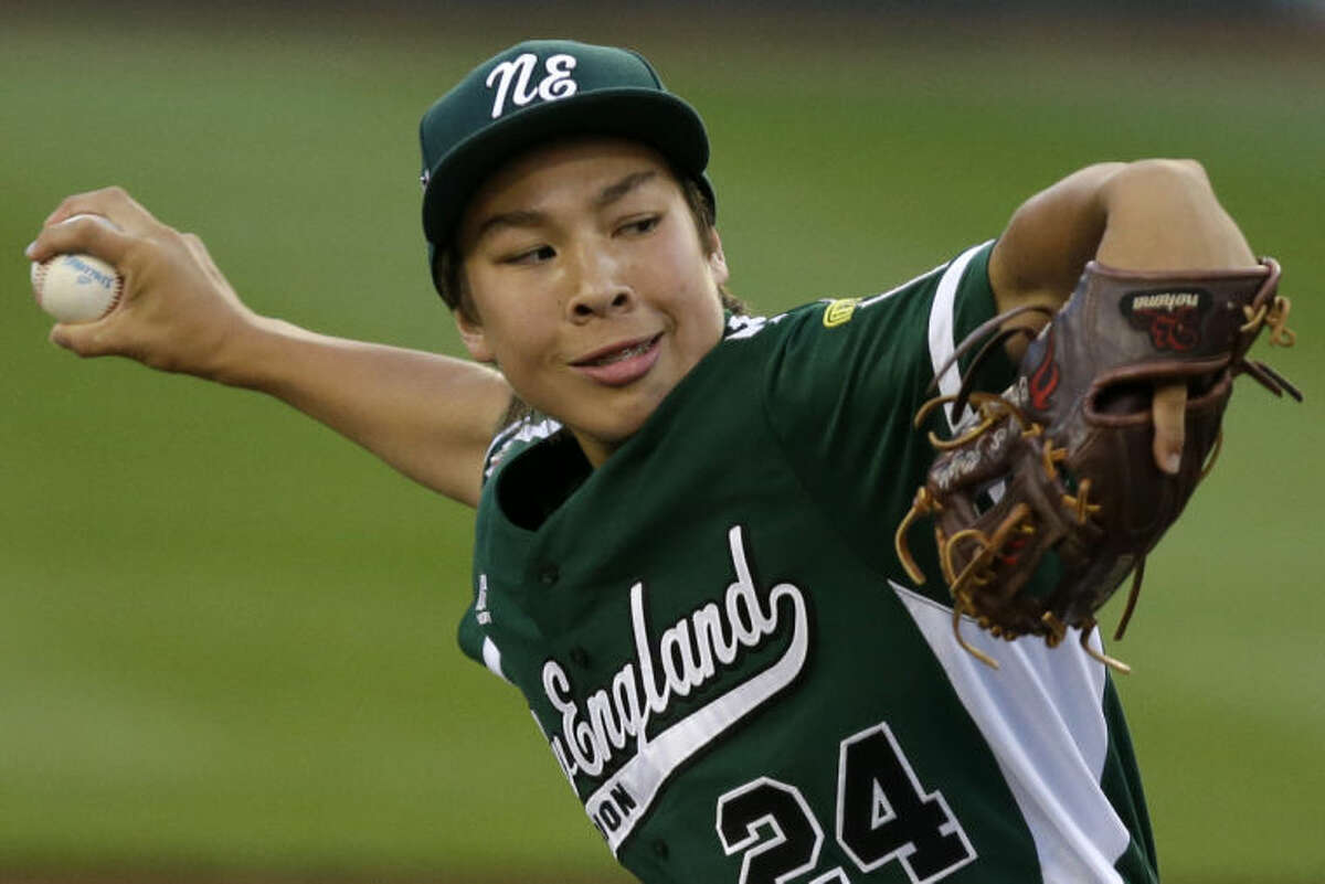 Westport, Conn., pitcher Chad Knight delivers during the first inning of a baseball game against Nashville, Tenn., in U.S. pool play at the Little League World Series tournament in South Williamsport, Pa., Thursday, Aug. 15, 2013. (AP Photo/Gene J. Puskar)