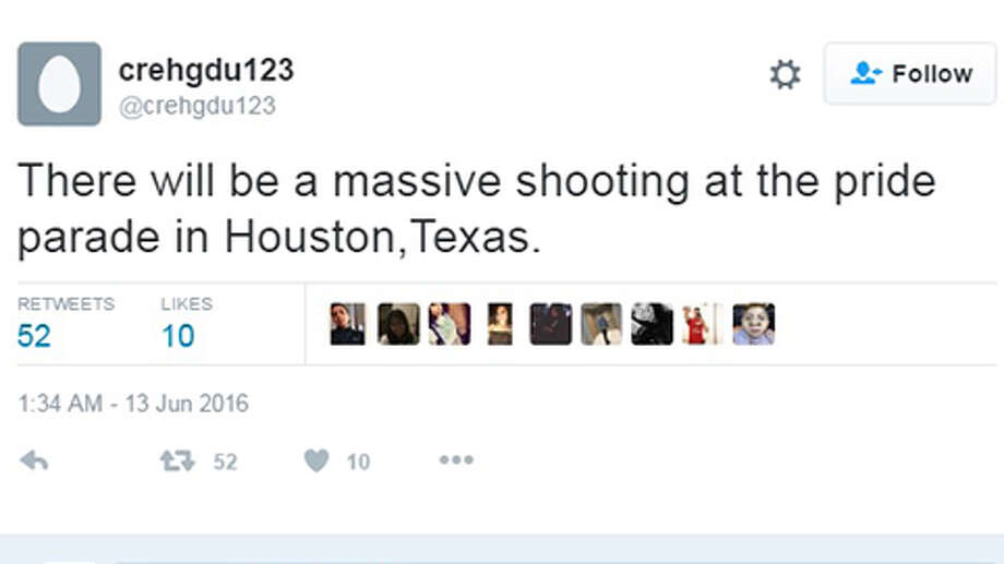 A tweet posted on Monday alleges that there will be a shooting at the Houston Pride parade on June 25.Keep clicking to see scenes from last year's Pride event. Photo: Twitter