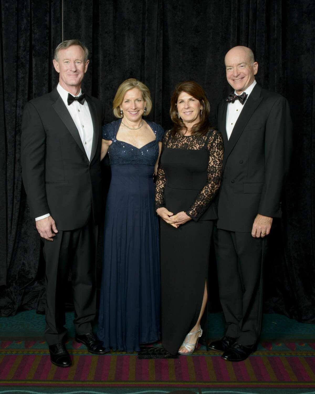 Chancellor McRaven and Georgeann McRaven, Tonya Callender and UTMB President Dr. David Callender