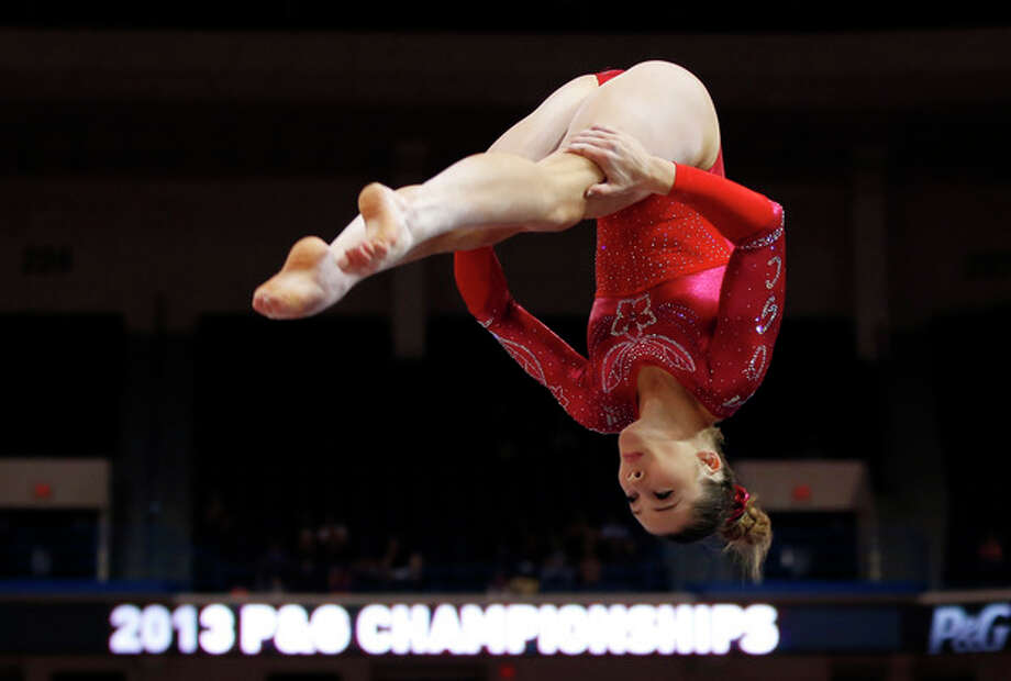 McKayla Maroney competes on the floor exercise during the U.S. women's national gymnastics championships in Hartford, Conn., Saturday, Aug. 17, 2013. (AP Photo/Elise Amendola) / AP