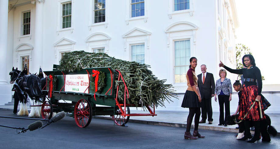 """First lady Michelle Obama with daughters Sasha, behind the first lady, and Malia, left, and family dog """"Bo"""" flashes a thumbs up as they welcome the arrival of the official White House Christmas tree, a 19-foot Fraser Fir from Jefferson, N.C., Friday, Nov. 23, 2012, at the North Portico of the White House in Washington. (AP Photo/Manuel Balce Ceneta) / AP"""