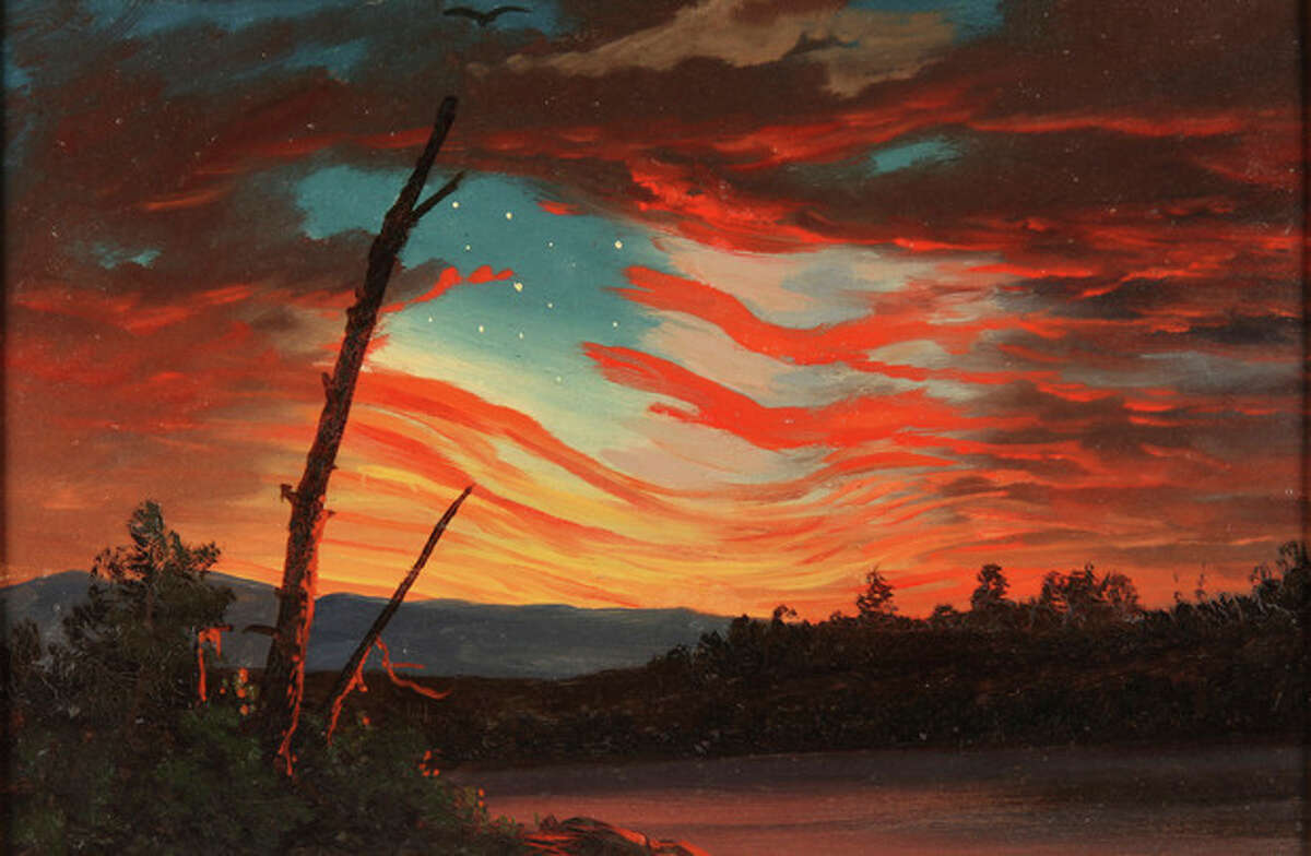 """This undated handout image provided by the Smithsonian American Art Museum shows Frederic Edwin Church's, 1861 oil on paper, """"Our Banner in the Sky,"""" part of a major exhibition on how artists represented the war and how the war changed art. It's on view in Washington through April and then moves to New York's Metropolitan Museum of Art. (AP Photo/Smithsonian American Art Museum)"""