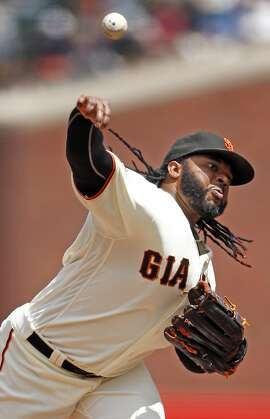 San Francisco Giants' Johnny Cueto throws in 5th inning against Milwaukee Brewers during MLB game at AT&T Park in San Francisco, Calif., on Wednesday, June 15, 2016.