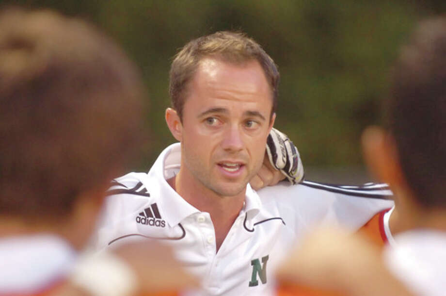Hour Photo/ Alex von Kleydorff. Norwalk boys soccer coach Chris Laughton / 2011 The Hour Newspapers/ Alex von Kleydorff