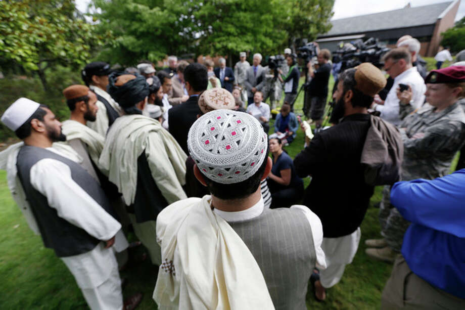 Afghan villagers speaks during a news conference after a sentencing hearing for Staff Sgt. Robert Bales at Joint Base Lewis-McChord, Wash., on Friday, Aug. 23, 2013. Bales, who massacred 16 Afghan civilians in 2012 in one of the worst atrocities of the Iraq and Afghanistan wars, was sentenced Friday to life in prison with no chance of parole. (AP Photo/Elaine Thompson) / AP