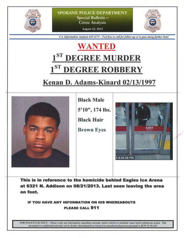 This image provided by the Spokane, Wash., Police Department shows a wanted poster for Kenan Adams-Kinard, 16, who is being sought by police in connection with the beating death of an 88-year-old World War II veteran outside an Eagles lodge in Spokane Wednesday, Aug. 21, 2013. Police say they have arrested one of two teens suspected of fatally beating Delbert Belton in his car at random Wednesday night outside the lodge as he was waiting for a friend. Belton was found with serious head injuries and died in the hospital Thursday. (AP Photo/Spokane Police)
