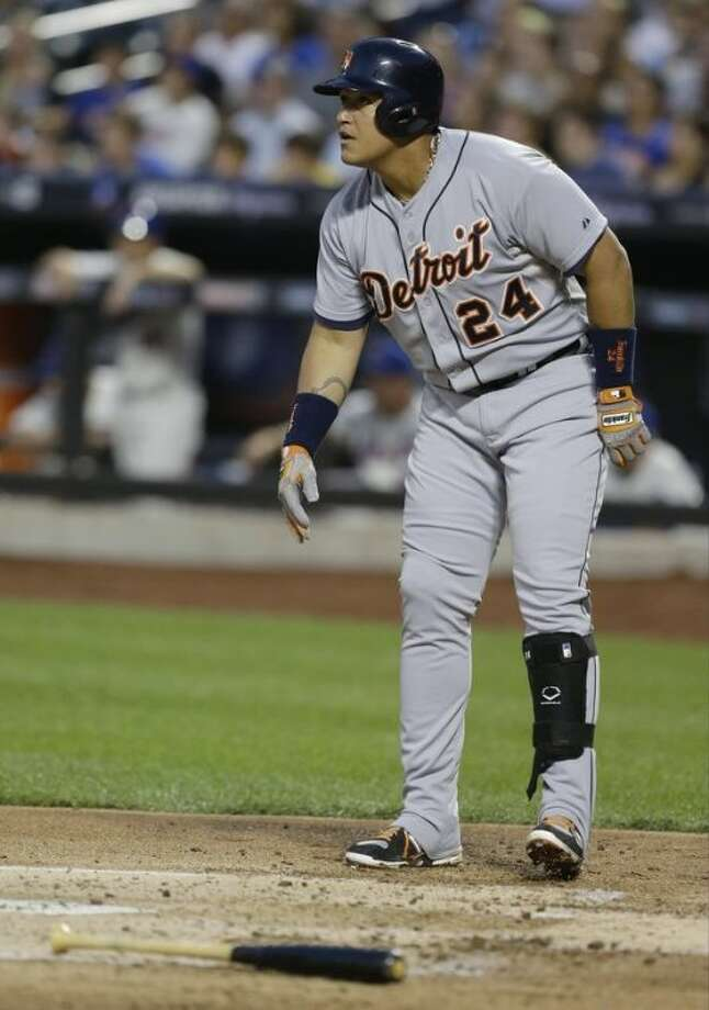 Detroit Tigers' Miguel Cabrera watches his three-run home run during the second inning of a baseball game against the New York Mets on Friday, Aug. 23, 2013, in New York. (AP Photo/Frank Franklin II)