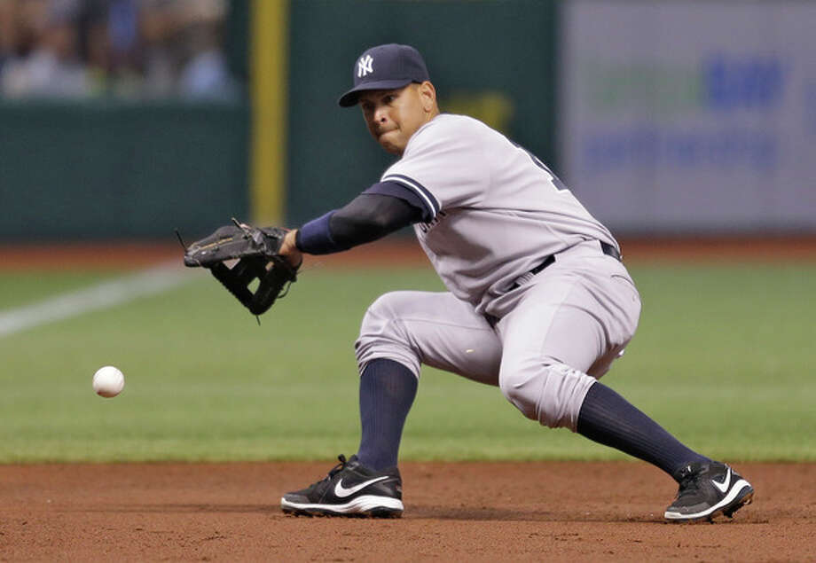 New York Yankees third baseman Alex Rodriguez cannot field a first-inning double hit by Tampa Bay Rays' Evan Longoria off pitcher CC Sabathia during a baseball game on Saturday, Aug. 24, 2013, in St. Petersburg, Fla. (AP Photo/Chris O'Meara) / AP