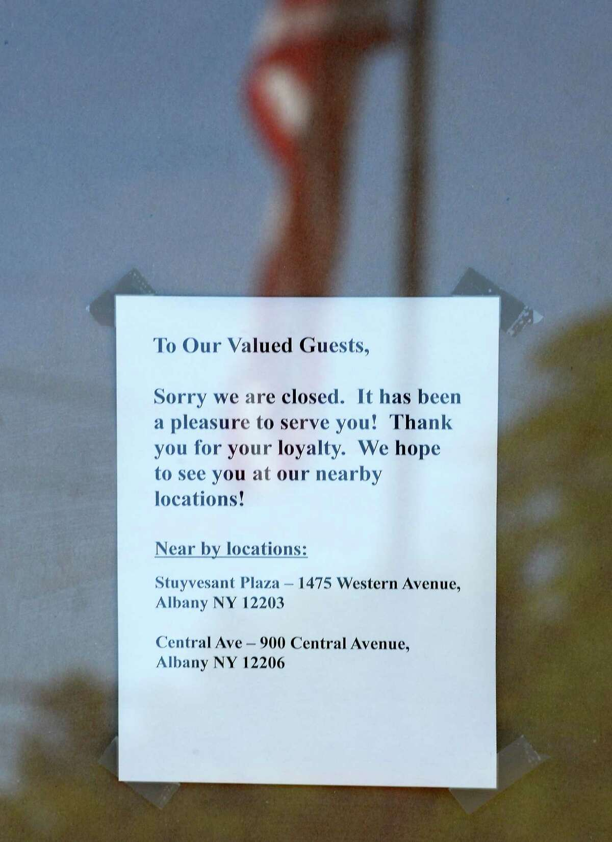 A sign on the door of Brueggers at Madison Ave. and South Allen St., Wednesday June 15, 2016 in Albany, NY. (John Carl D'Annibale / Times Union)