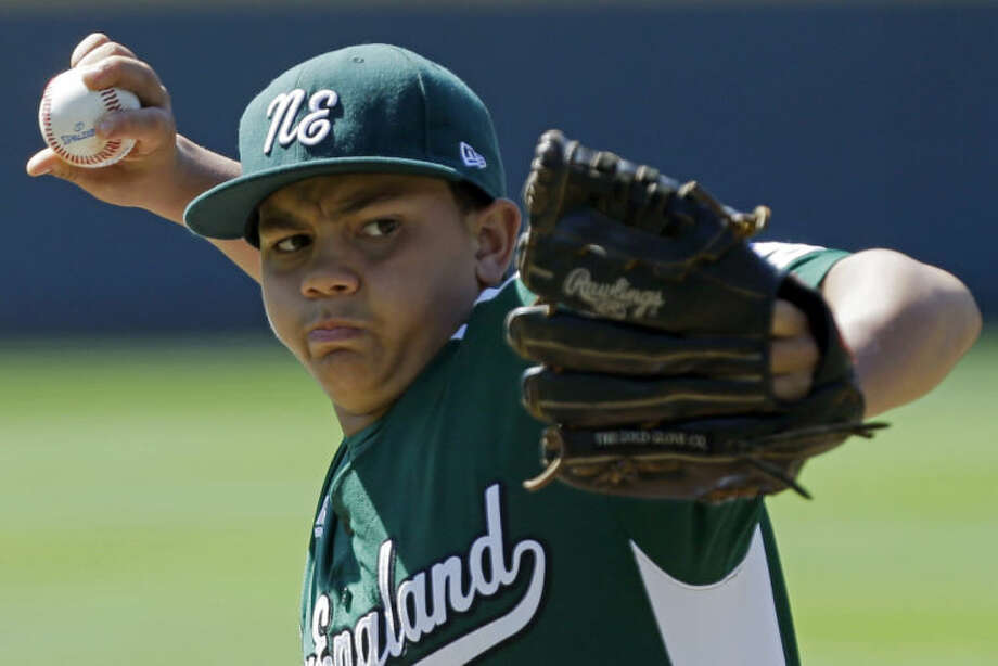 Westport, Conn., pitcher Matt Brown delivers against Tijuana, Mexico in the first inning of a consolation baseball game at the Little League World Series tournament in South Williamsport, Pa., Sunday, Aug, 25, 2013. (AP Photo/Gene J. Puskar)