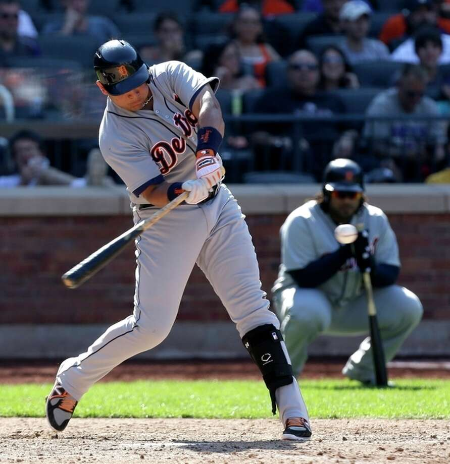 Detroit Tigers' Miguel Cabrera singles during the ninth inning of an interleague baseball game against the New York Mets at Citi Field, Sunday, Aug. 25, 2013 in New York. The Tigers beat the Mets 11-3. (AP Photo/Seth Wenig) / AP